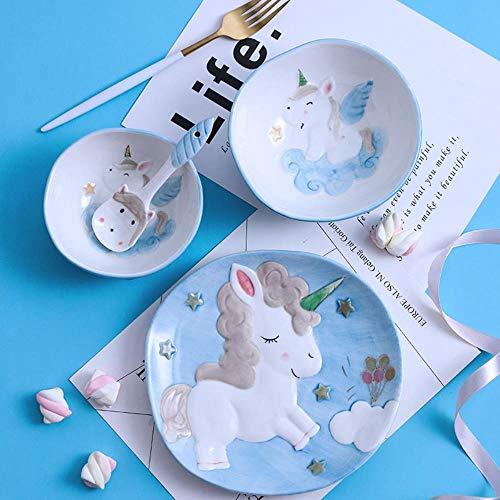 Simpatico Cartone Animato Unicorno con Set di stoviglie in Ceramica Set di Piatti in Porcellana per Animali Piatto Ciotola Cucchiaio Bambino Colazione Cena per Bambini, Set da 4 Pezzi Blu