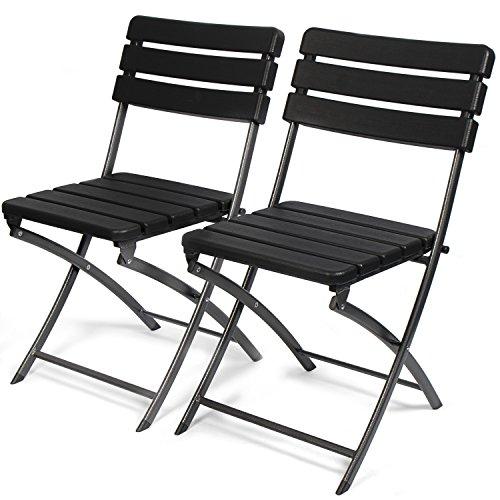 Park Alley Gartenstuhl in schwarz - klappbare Gartenstühle im 2er Set - hochwertige Klappsessel in Holzoptik - Hochlehner - pflegeleichter Klappstuhl