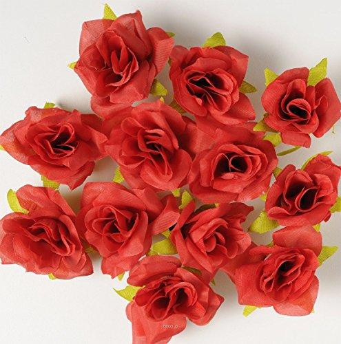 Artif-deco - Tetes de rose artificielle x 12 rouge cerise d 6 50 cm pour boule de rose