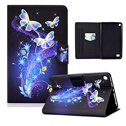 zl one Compatible con/reemplazo para Tablet PC Kindle Fire 7 Tablet (9ª/7ª/5ª generación, 2019/2017/2015) PU Funda de piel con tapa tipo cartera (mariposas flores)