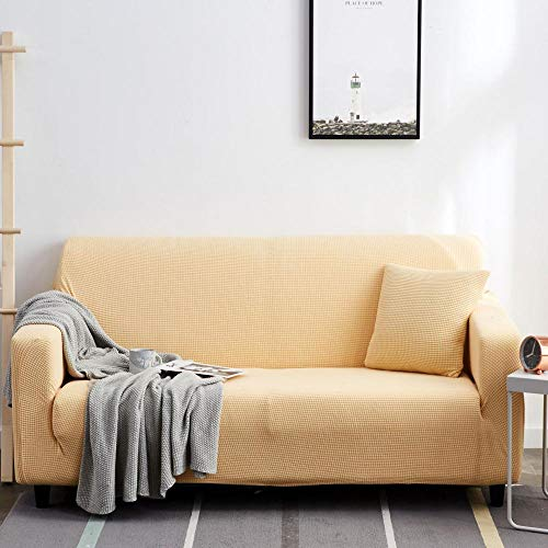 Funda para sofá con diseño moderno Beige 1 plaza, protector grueso, fundas de sofá con estampado sólido para sala de estar, funda de sofá, funda de sofá en esquina, en forma de L, 90-140 cm 1 PCS