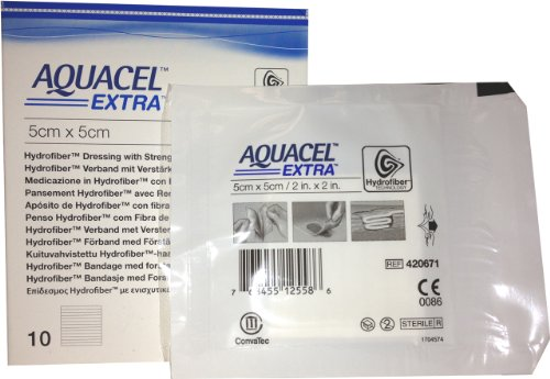 New and Improved AQUACEL Extra Hydrofiber Dressing 2' x 2' (Box of 10 dressings)