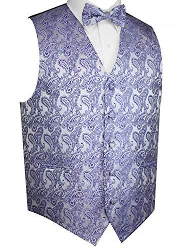 Brand Q Men's Tuxedo Vest and Bow-Tie Set-Lavender Paisley-L
