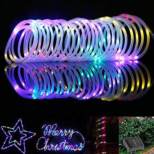 ShinePick Solar Lichterkette Aussen, 12M 100 LED Solar Lichtschlauch, Automatisch An/Ausschalten Wasserdicht Solarlichterkette Außenlichterkette Weihnachtsbeleuchtung für Garten Aussen Deko(Bunt)
