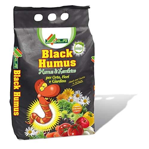 Alfe Black Humus di lombrico Biologico per orto,fiori e giardino 5 litri