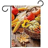 Gartenhof Flagge doppelseitig /28x40in/ Polyester Welcome House Flag Banner,Herbst Kürbis Hohn gefallene Blätter