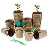 50 macetas biodegradables con 50 etiquetas para plantas y pequeñas herramientas para germinación, cultivo piante y jardinería