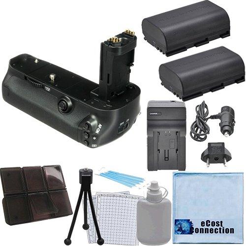 Battery Grip for Canon 5D Mark IV DSLR Camera + 2 LP-E6 Batteries + Car/Home Charger + Deluxe eCostConnection Starter Kit