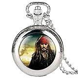 Reloj de bolsillo para hombre, diseño de piratas del Caribe con tema de película para niños, colgante de cuarzo, reloj de bolsillo para adolescentes