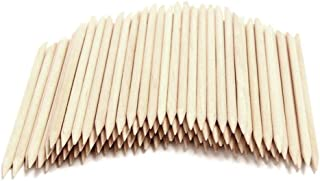 Onwon 100 Pieces Orange Wood Sticks - Double Sided Nail Art Multi-Functional Cuticle Pusher Remover, Clean Nail Polish - 1...