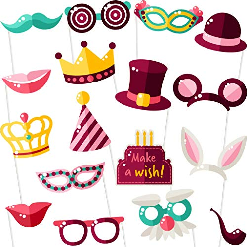 Birthday Photo Booth Props – Birthday Party Photobooth Props and Signs (17 Count) – Large and Durable Happy Birthday…