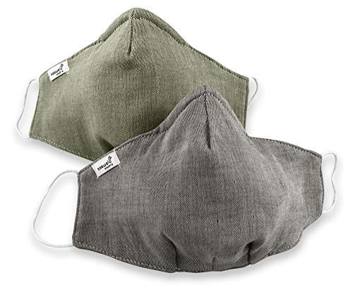 saewelo Mund- und Nasenmaske | 100% Baumwolle & Oeko-Tex | waschbar | 19 Verschiedene Designs | Schutzmaske für Erwachsene (Damen & Herren) | Marine & Regenwald