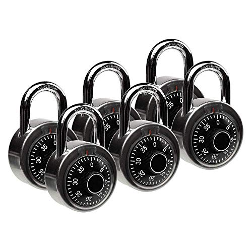 Standard Dial Combination Lock, 2 in. Wide, with Different Combinations, Lock for School, Employee, Gym & Sports Locker, Case, Toolbox, Fence, (Pack of 6)