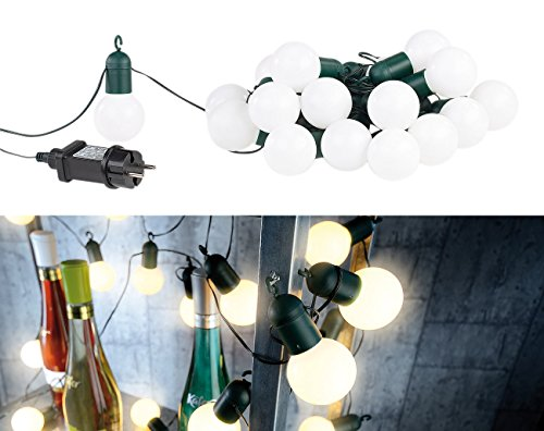 Lunartec Lichterkette Glühbirnen: LED-Lichterkette mit 20 Lämpchen, 1,2 Watt, warmweiß, 475 cm, IP44 (Lichterkette Glühbirne Strom)