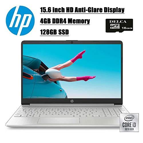 2020 Premium Newest HP 15 Business Laptop Computer I 15.6 inch HD Anti-Glare Display I 10th Gen Intel Core i3-1005G1(>I5-7200U) I 4GB DDR4 128GB SSD I BT 4.2 USB-C Win 10 + Delca 16GB Micro SD Card