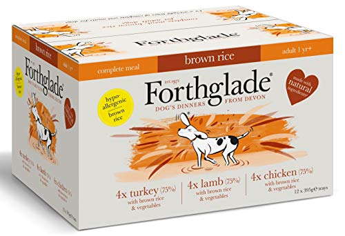 Forthglade Natural Complete Wet Dog Food with Brown Rice Variety Pack 395 g (Pack of 12)