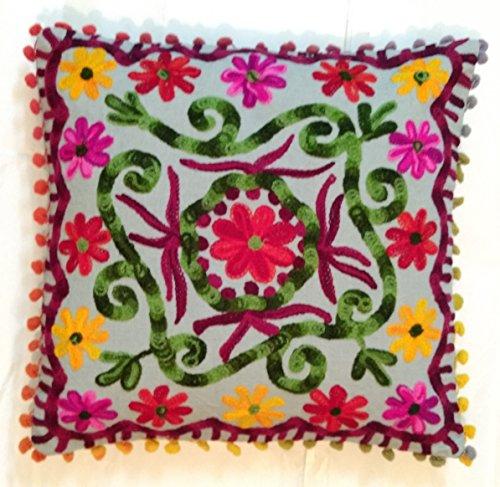 Traditional Jaipur Suzani Funda de cojín de 40 x 40 cm, funda de almohada decorativa, cojines indios al aire libre, fundas de almohada Boho Pom Pom