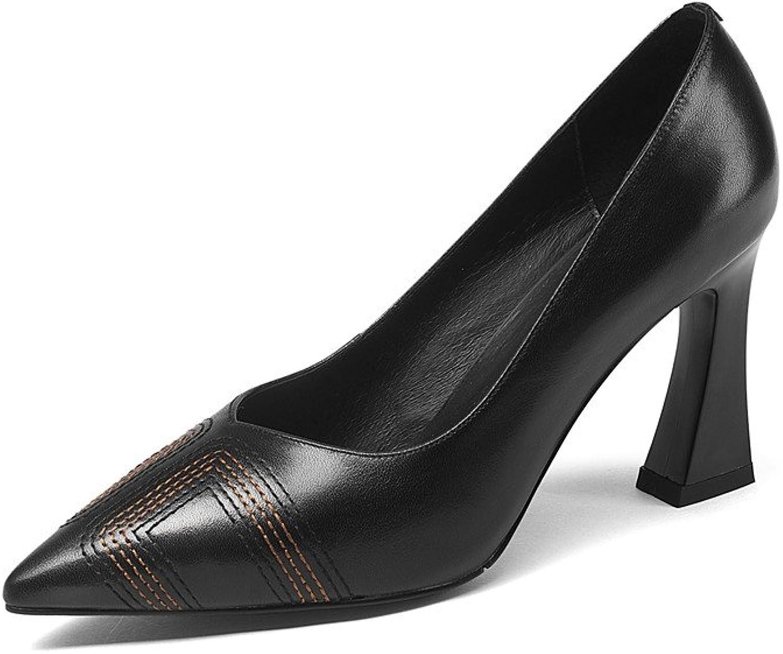 Nine Seven Genuine Leather Women's Pointed Toe High Chunky Heel Slip On Handmade Concise Comfort Women Pumps