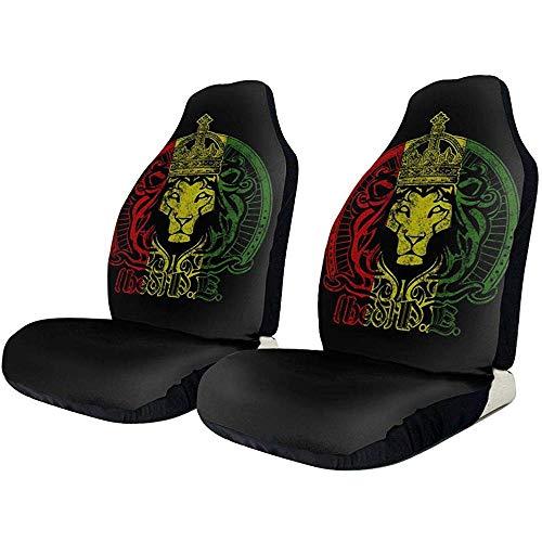 Xiaoyinghua Autositzbezüge African Flag Der Löwe von Juda Rasta Rastafari Elastic Full Set Autositzschoner Universal