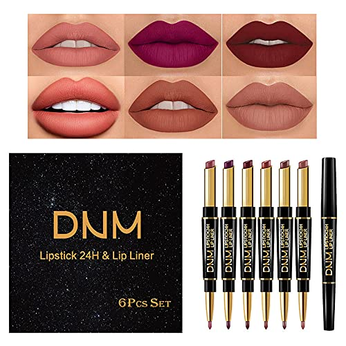 6Pcs Lip Liner and Lipstick Set,DNM…