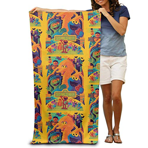 AllenPrint Toallas De Playa,Coo-Kie El-Mo Monster Hand Towel, Toallas De Baño Premium para Mujer para Gym Travel Running,80x130cm