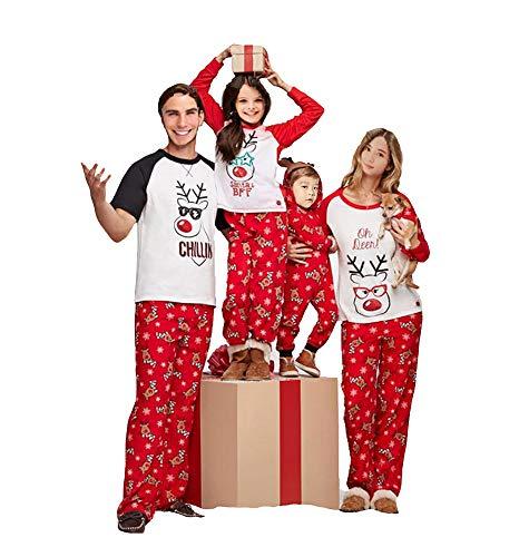 Multitrust Family Matching Christmas Pajamas Set Deer Tops and Long Pants Sleepwear for Family