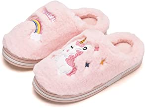 Kids Unicorn Slippers Winter Warm Cotton Slippers Plush Indoor Anti-Slip House Shoes for Girls and Boys (9.5-13 Little Kid)