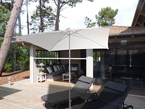Parasol - Le Pub Rond 2.5m Polyester 200 g/m2 Ecru Mât Blanc Sans lambrequin
