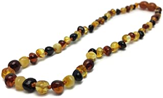 """Baltic Amber Necklace Polished 12.5"""" Authenticy Certificate All Natural 100% Safe (Multi)"""