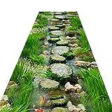 WaiMin Alfombra de comedor de pasillo, alfombra de piedra de río 3D, antideslizante, lavable, resistente, alfombra de pasillo (tamaño: 120 x 450 cm)