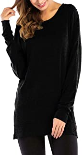 GSVIBK Womens Round Neck Pullover Tunics Casual Long Sleeve Side Split Tunic Sweatshirt Loose Tunic T Shirt Tops