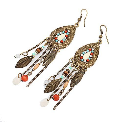 Lazzboy Metallohrringe Frauen-Weinlese ovales Blattohrringe indische Art Quaste(Mehrfarbig)