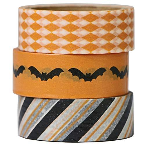 aufodara 3pcs Washi Tape Set di Nastri Adesivo per Halloween Nastro di Carta Adesivo Nastro Adesivo Decorativo per Artigianato Forniture per Scrapbooking Confezione Regalo Fai-da-Te 15MM x 5M