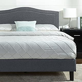 Zinus Anne Upholstered Detail Stitched Scalloped Platform Bed / Mattress Foundation / Easy Assembly / Strong Wood Slat Support, Queen