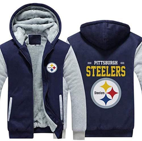 MMQQL NFL Hoodie, Pittsburgh Steelers Fußball-Kleidung, langärmeliges T-Shirt, bedruckt, mit Kapuze, langärmelig, bequem, Sweatshirt (grau, rot), grau, XXXL