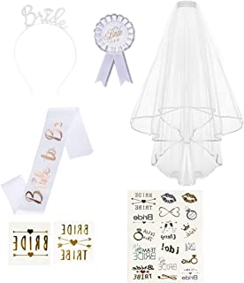 INHEMI Hen Party Accessories Bride to Be Set Include Bride to Be Sash Bride Tiara Tattoos Rosette Badge Hen Party Veil with Comb for Hen Night