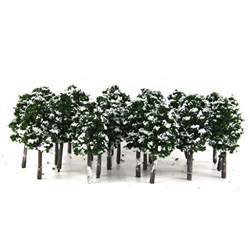 Arbres Modeles En Plastique Forment Ferroviaire Neige Paysage 1: 150 20pcs Vert Fonce