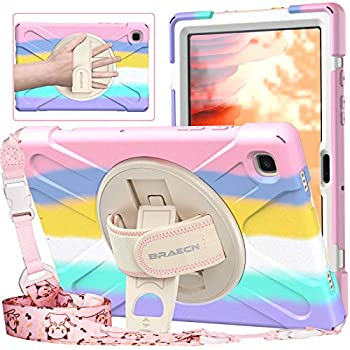 BRAECNstock Samsung Galaxy Tab A7 10.4 inch case 2020 Release SM-T500 / T505 / T507 for Kids Girls Boys Case with Rotating Kickstand/Shoulder Strap/Hand Strap-Rainbow Pink