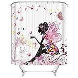 Langlee Duschvorhang aus Polyester, wasserdicht & schimmelresistent, Badezimmervorhang mit 12 Haken, 200 x 180 cm (Motiv 06)