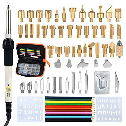 Lötkolben Set Elektronik,77Pcs,60W Lötkolben Kit Soldering Iron Set, Temperatur Einstellbar 200°C-450°C,Handwerk Zeichenstift für Holzbearbeitung Leder