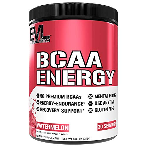 Evlution Nutrition BCAA Energy - Essential BCAA Amino Acids, Vitamin C & Natural Energizers for Performance, Immune Support, Muscle Building, Recovery, B Vitamins, Pre Workout, 30 Serve, Watermelon