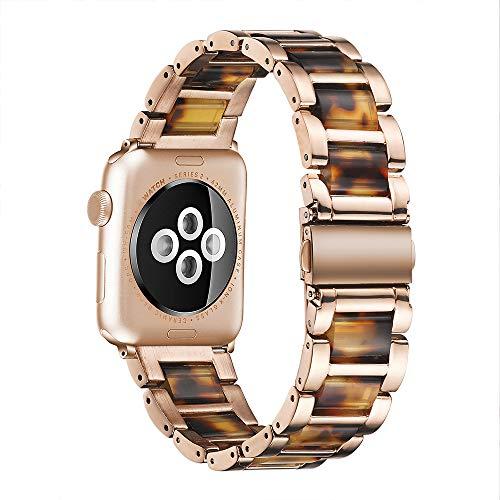 CHENPENG Compatible con Apple Watch Correa 42 mm 38 mm Correa de Resina, Correa de Repuesto de Correas de Resina de Acero Inoxidable, Pulsera de Resina Colorida,6,38mm