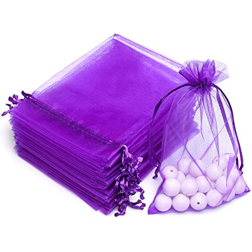 AKStore 100PCS 4x6' (10x15cm) Drawstring Organza Jewelry Favor Pouches Wedding Party Festival Gift Bags Candy Bags (Purple)