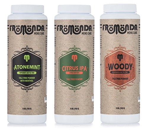 Fromonda (Multi-Scent) Body Powder (5 oz. 3-Pack) Unisex, Talc-Free, Anti-Chafing, Sweat Defense with Essential Oils