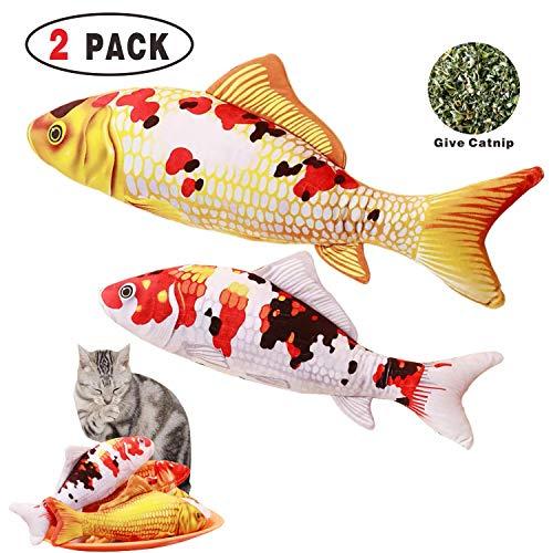 Tee-Moo Katzenspielzeug, Katzenminze, Fisch-Spielzeug, Haustier Katze Zähne Reinigung Gesundheit Kauen Kick Nachfüllbares Katzenminze Fischkissen