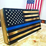 Rustic Wood Thin Blue Line American Flag Concealment Cabinet