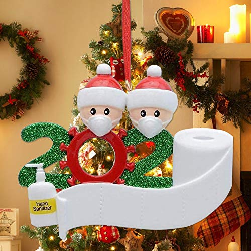 2020 Christmas Ornaments Personalized Family Christmas Ornament Santa with a Mask Christmas Ornament Family Customized Christmas Decoration ( Family of 2)