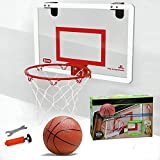 BORUO Hanging Door Mini Basketball Hoop,Wall Mounted Foldable for Backboard,Adjustable Basketball Stand Rim Net,Punch-Free Installation,red