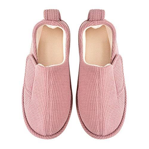 B/H Talón Acolchado,Inicio Zapatos de confinamiento Antideslizantes, Bolsa de Abrigo y Pantuflas-Pink_XL (42-43),Zapatillas Que absorben