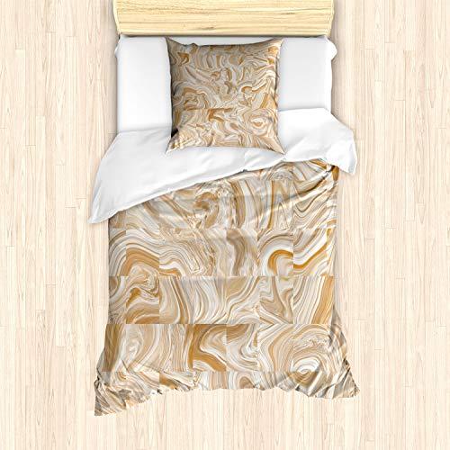 ABAKUHAUS Braun Bettbezug Set für Einzelbetten, Vintage Marmor Effekt, Milbensicher Allergiker geeignet mit Kissenbezug, Creme Tan
